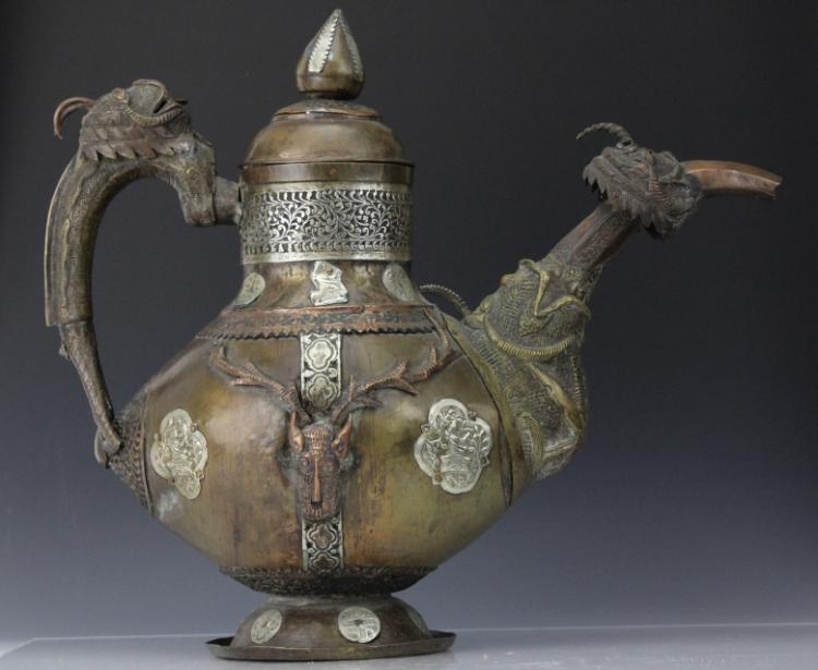 Antique Mixed Metals Figural Nepalese Bronze Ewer Pitcher Museum Quality
