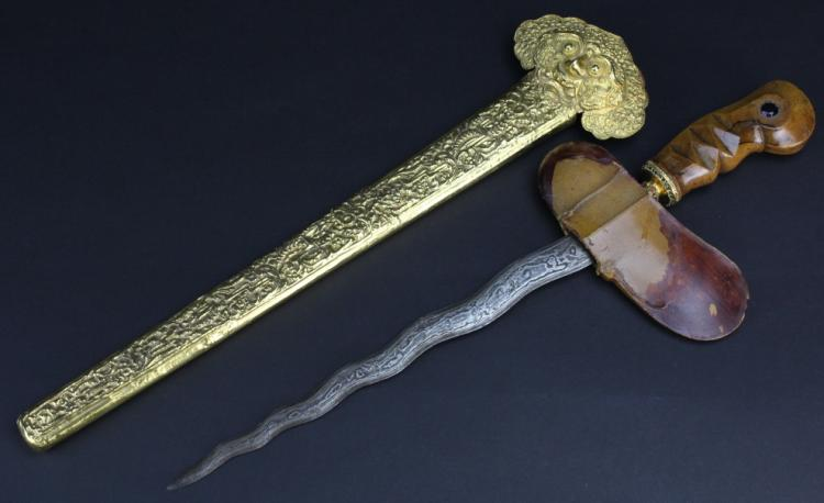 Museum Quality 19th Century Antique Indonesian Kris Sword w Gilt Scabbard