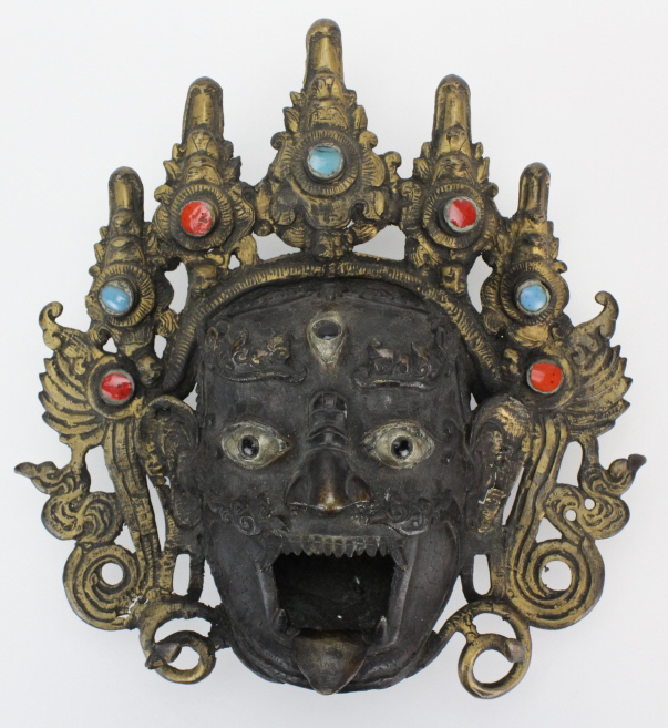 19th Century Nepalese Bronze Head of Bhairava Incense Mask Museum Quality