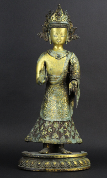 Antique 19th Century Nepalese Gilt Bronze Dipankara 26