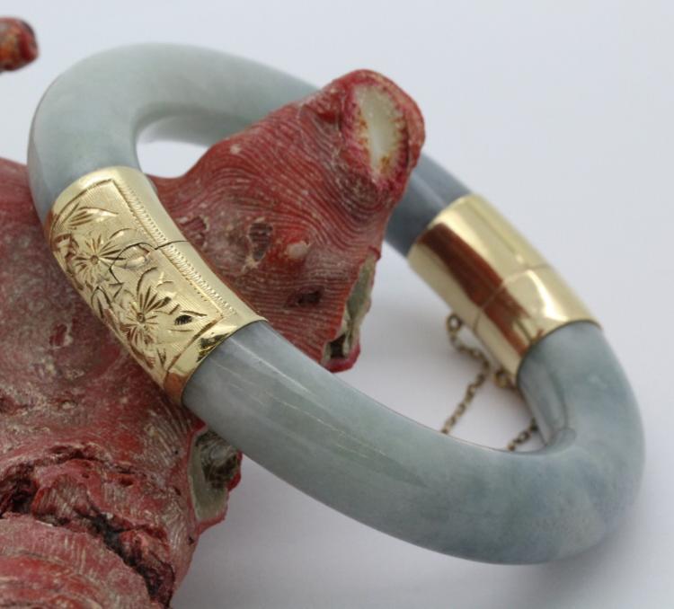 Chinese Export 12mm Nephrite Jade 14k Gold Bangle Bracelet 83.8g QUALITY