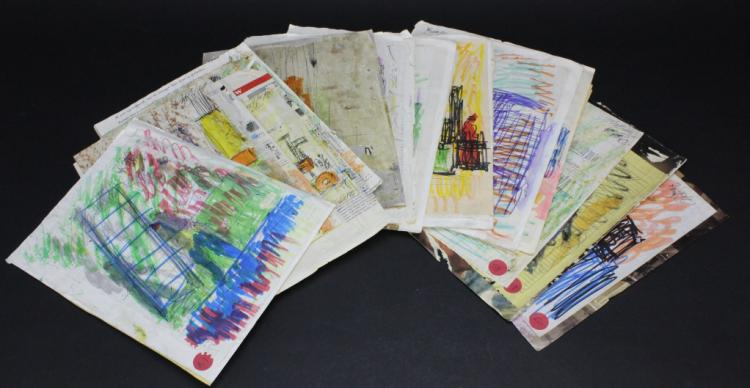 33 piece Collection of Purvis Young (1943-2010) Outsider Folk Art Painting