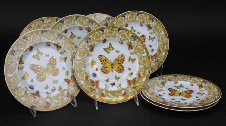 Set of 8 Le Jardin de Versace Butterflies Rosenthal Porcelain 7 1/4
