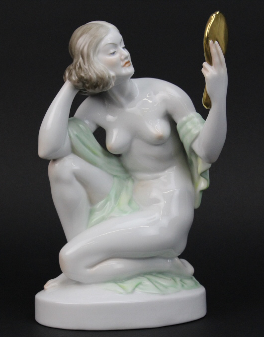Large Herend Hungary Art Deco Female Nude 9 1/2