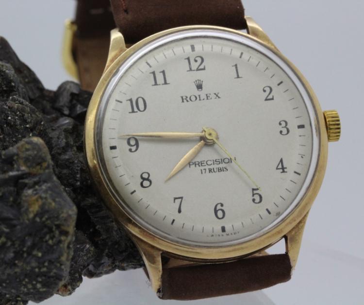 Mens Vintage ROLEX 18k Gold Precision Mechanical Wind Wrist Watch