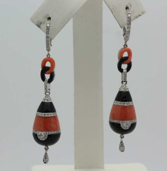 18K White Gold Red Coral & Black Onyx Diamond Art Deco Drop Earrings
