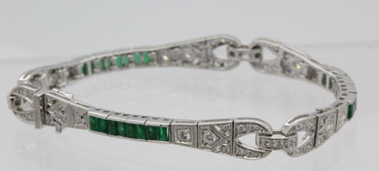 Art Deco Style 18K White Gold 3 Ct TW Diamond & Emerald 7