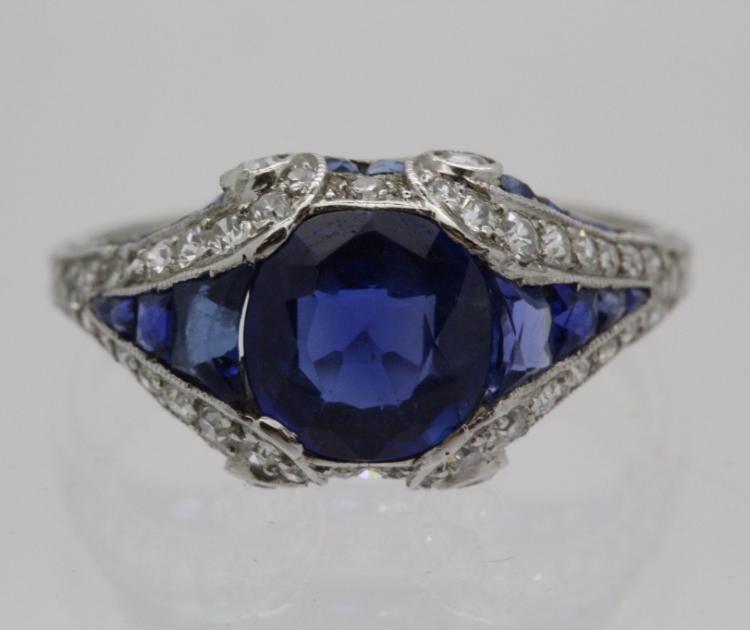 Belle Époque Tiffany & Co Platinum Sapphire Diamond Ring Circa 1905