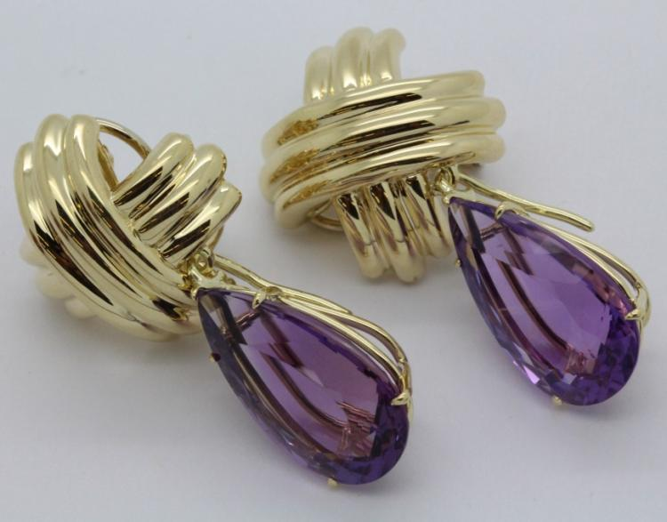 Pair of Signed Tiffany & Co 18k Gold X Pear Shape Amethyst Earrings 32.6g