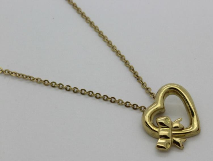 18K 750 Yellow Gold Signed Elsa Peretti Tiffany & Co Heart Pendant