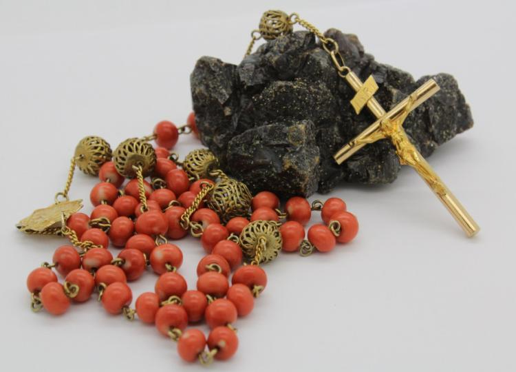 Antique 14k Yellow Gold Salmon Pink Angel Skin Red Coral Rosary 50.9g
