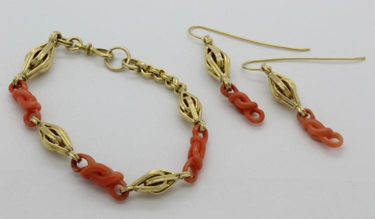 Victorian Era 18k Gold Pink Salmon Ref Coral Bracelet & Earrings Suite 29.3g
