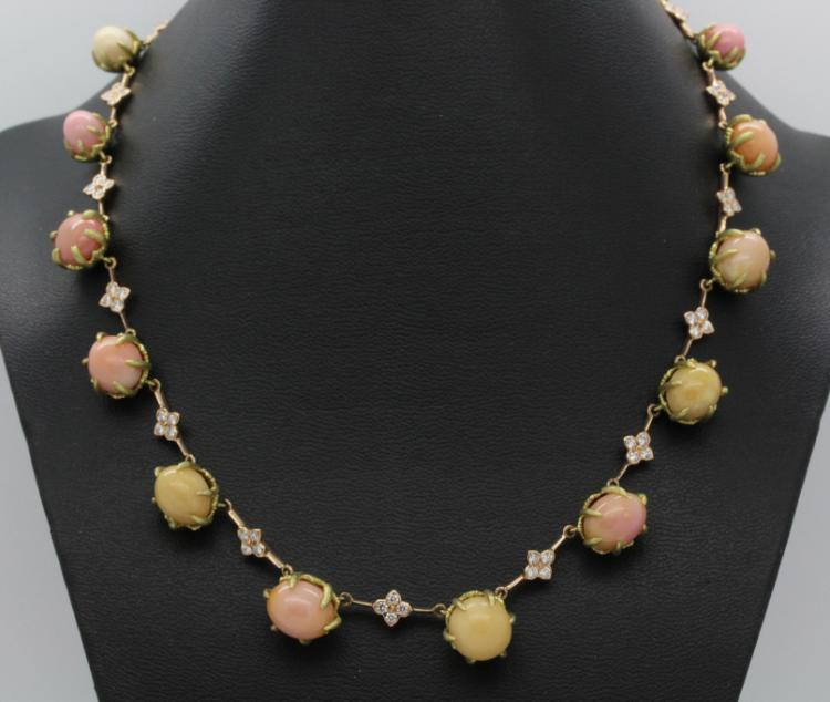 SIGNED Harry Stambolian 18k Gold Natural Conch Pearl Diamond Necklace