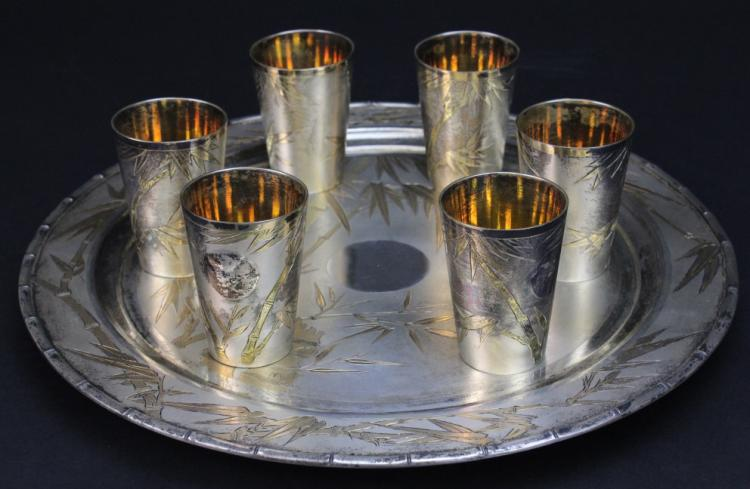 VTG Japanese 800 Silver Gold Bamboo Sake Cups w Serving Tray 1233g