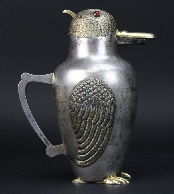 Vintage 800 Silver Ornate Figural Bird Cocktail Shaker Pitcher 766g