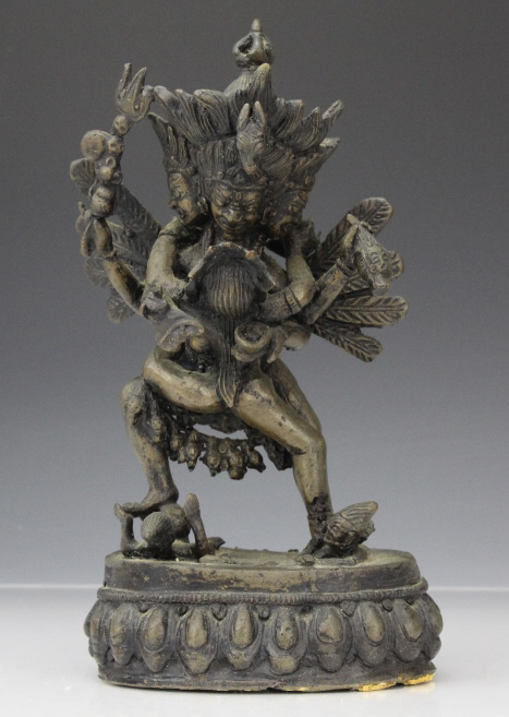 Vintage Bronze Tibet Shiva Statue Sculpture from Morris Lapidus Estate