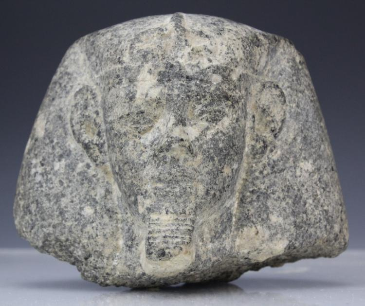 Granite Egyptian Pharaoh Head Sculpture from Morris Lapidus Estate