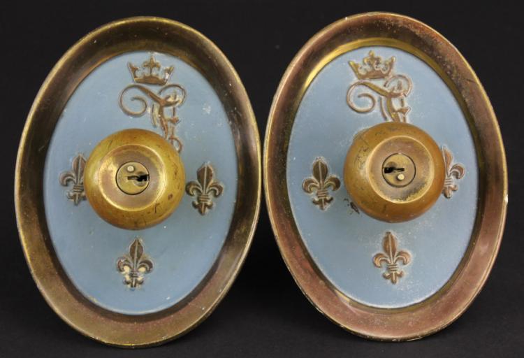Pair of 2 Fontainebleau Bronze Door Knob from Morris Lapidus Estate