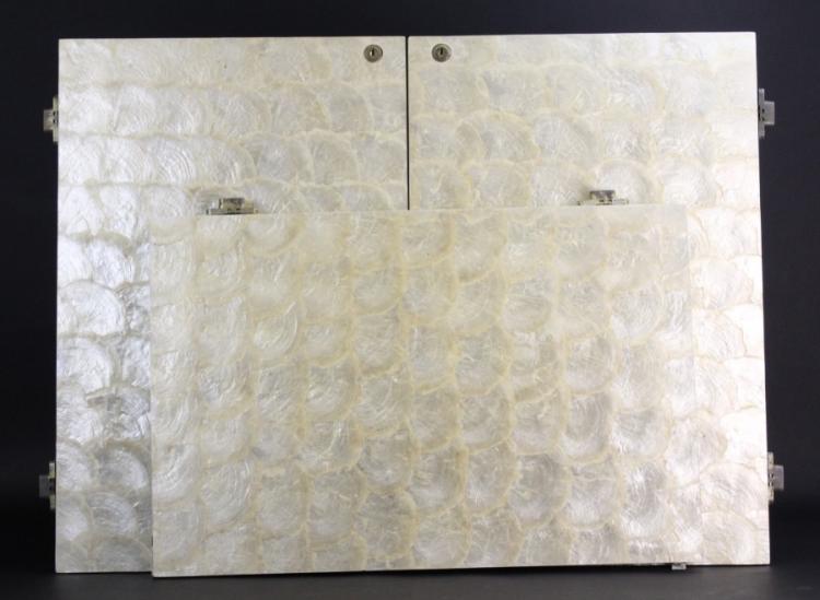 3 Lapidus Designed Capiz Shell Cabinet Door from Morris Lapidus Estate