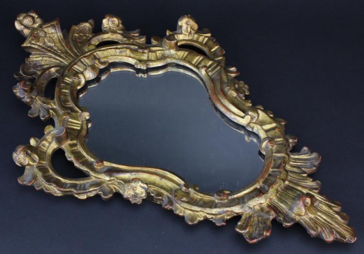 Antique Gold Gilt Baroque Italian Mirror from the Morris Lapidus Estate