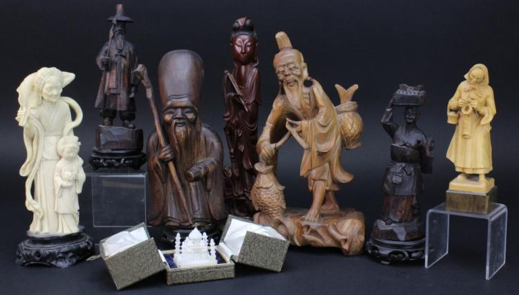 Grouping of 8 Carved Wood Asian Figures from Morris Lapidus Estate