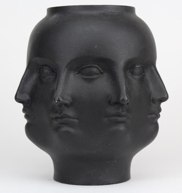 Modern Fornasetti Style Perpetual Face Black Modernist Art Vase