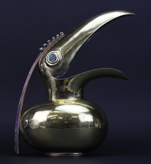 Signed Los Castillo Taxco Modern Toucan Bird Mixed Metals Bass & Copper Pitcher