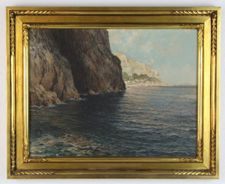 Signed Cavalier Michele Federico (1884-1966) Italy Seascape Oil Painting
