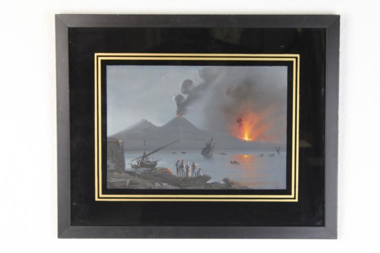 The Eruption of Mt Vesuvius Original Italian Gouache Landscape Painting