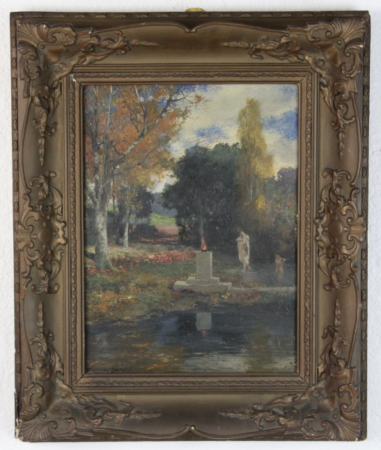 Signed Ernst Fisher Coerlin (1853-1932) Germany Park Landscape Oil Painting