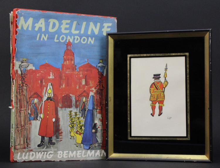 Signed Ludwig Bemelmans 1898-1962 USA/France Beefeater Guard Illustration Painting
