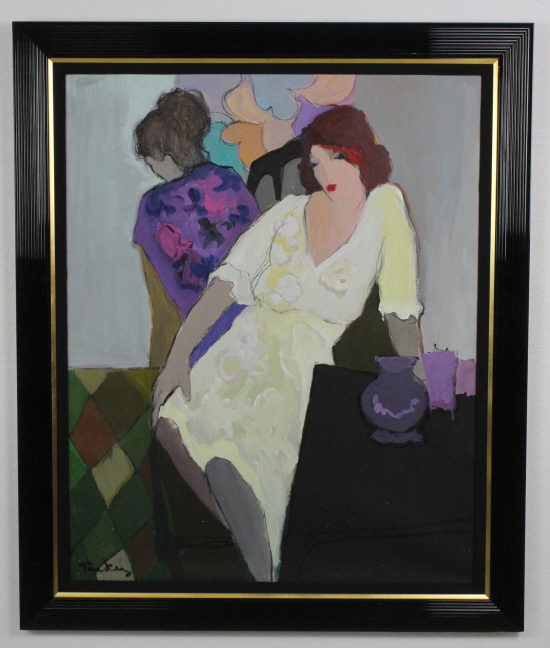Signed Itzchak Isaac Tarkay (1935-2012) Isreal Two Women Acrylic Painting