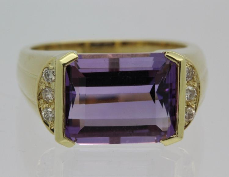 Signed H Stern 18k Gold 6ct Amethyst Diamond Ring