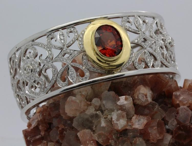 14k Gold Spessartite Garnet Diamond Cuff Bracelet