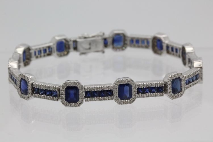 14k White Gold 14 Ct Tw Sapphire Diamond Bracelet