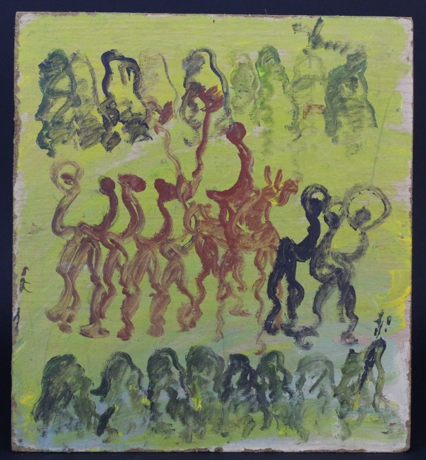 Purvis Young (1943-2010) American Spirit Dancers Outsider folk Art Painting