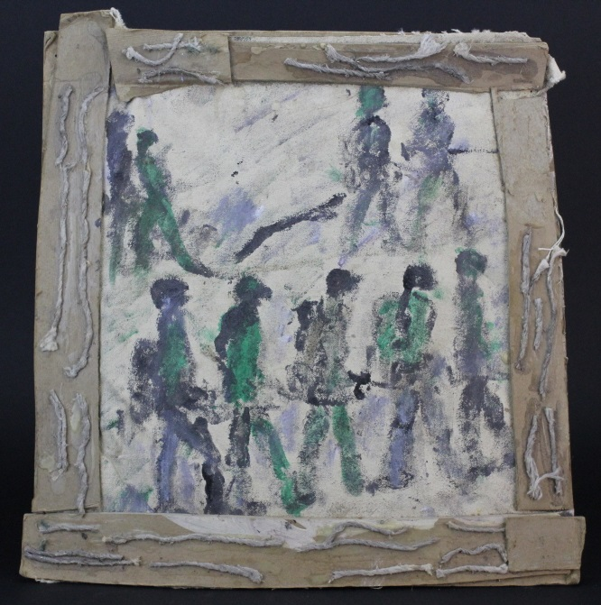 Purvis Young (1943-2010) American Army Men Parade Outsider Folk Art Painting