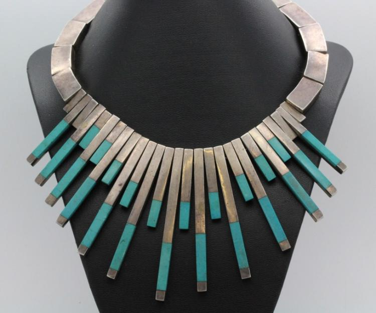 Stunning TAXCO Mexico Sterling Silver Turquoise Sunburst Necklace