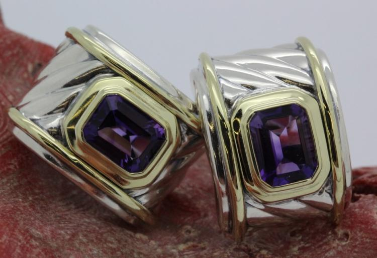 David Yurman 14k Sterling Silver Amethyst Earrings