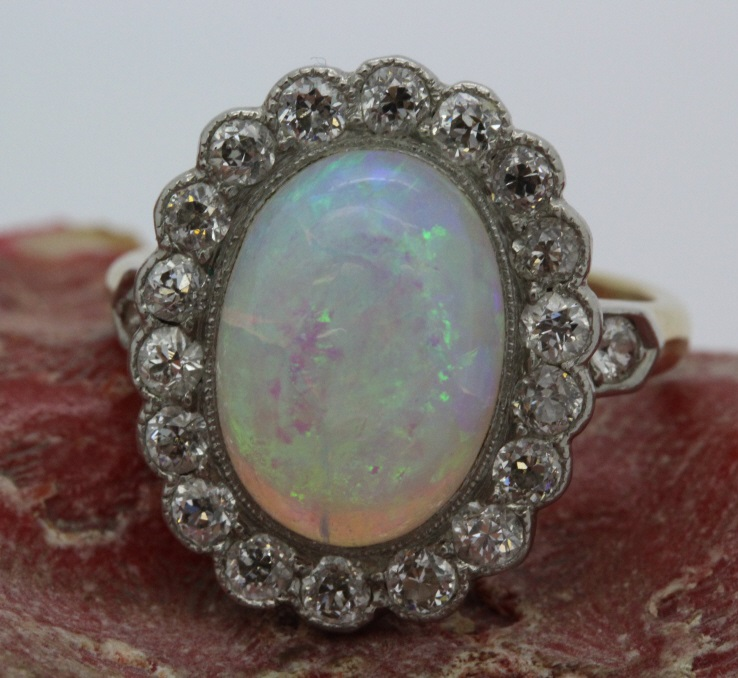 Ladies Victorian 14k Gold & Platinum Opal Diamond Ring