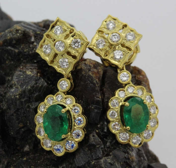 Pair of 18k Yellow Gold 2.5 Ct Tw Emerald Diamond Earrings