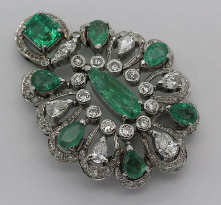 Platinum 11 Carat TW Emerald & Diamond Brooch Pin