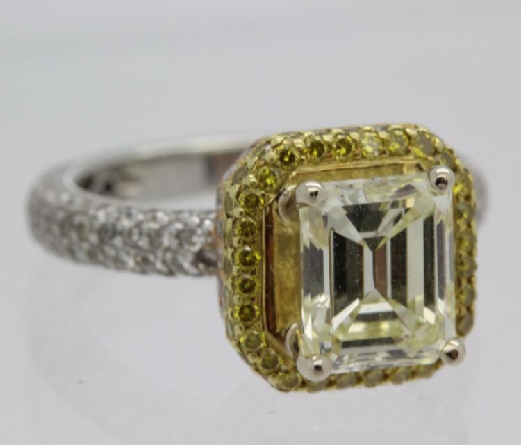 18k Gold 3.03 Ct Tw Emerald Cut Diamond Engagement Wedding Ring w/ Gia