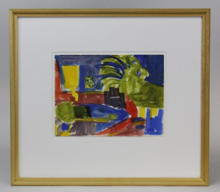 Shirley Michnoff Modernist Watercolor Painting from The Bass Museum