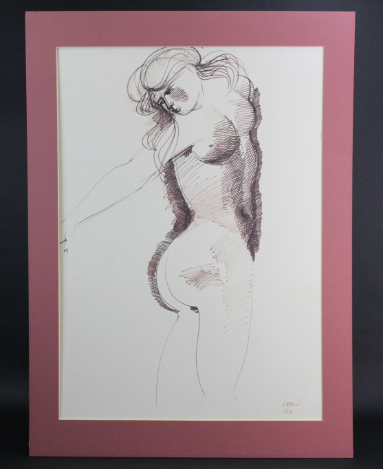 Signed Emilio Greco Modernist Female Nude Drawing from The Bass Museum
