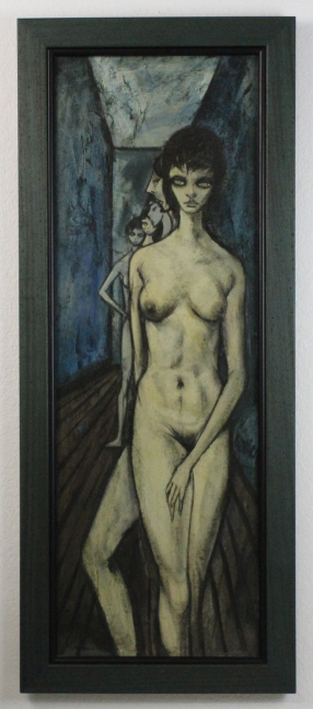Signed Charles Levier (1920-2003) New York Modernist Blue Female Nude Oil Painting