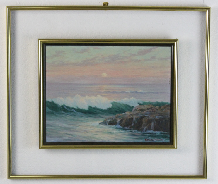 Signed Roi Clarkson Colman California Coastal Seascape Oil Painting