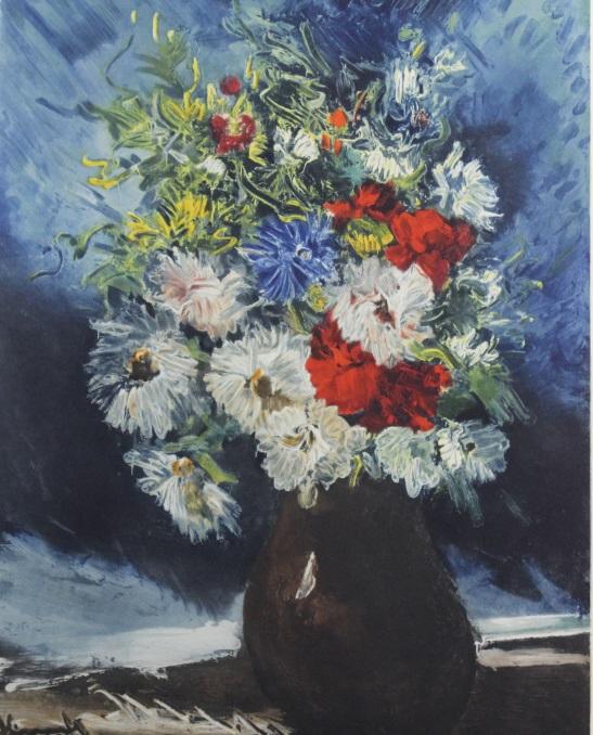 Signed Maurice De Vlaminck Flowers Aquatint Print from The Bass Museum