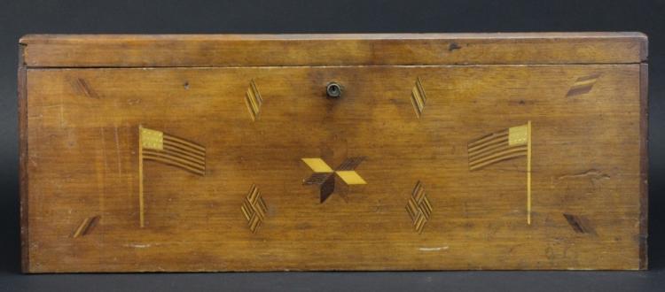 Early 19th Century Inlaid Folk Art Document Box