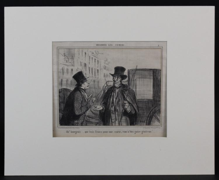 Set 4 Honore Daumier Antique French Lithographs from The Bass Museum